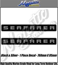 SEAFARER -  760mm x 95mm X 2 - Silver & Black - BOAT DECALS