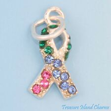 Thyroid Cancer Awareness Ribbon .925 Sterling Silver Charm w/ Swarovski Crystal