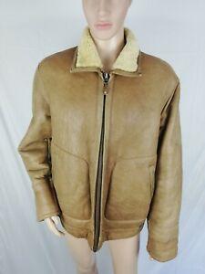 CAMEL ACTIVE MONTONE VINTAGE Cappotto di PELLE Giubbotto Coat Giacca Tg 52 Uomo