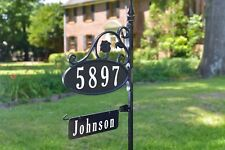 Park Place Super Reflective Address Yard Sign w/ Name Rider, Usa Made Great Gift