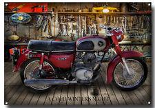 HONDA CLASSIC CD 175 MOTORCYCLE METAL SIGN,VINTAGE HONDA MOTORCYCLES,RETRO.cwn