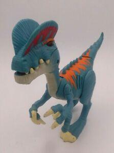 "Jurassic World JW 7"" Dilophosaurus Raptor w/ Lights & Sounds Blue Dinosaur Roars"