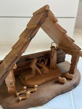 Vintage Rustic Mid Century Wood Folk Art Christmas Nativity - Approx 6 Inches