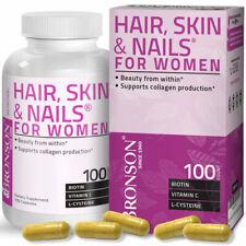 Bronson Hair, Skin & Nails for Women, Biotin, Vitamin A, C, E, B, 100 Capsules