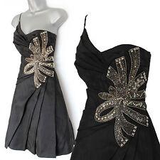 Karen Millen Black Taffeta 1 Shoulder Embellished Jewel Cocktail Prom Dress 10
