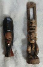 Handmade Wood African Totems Carvings Set of 2
