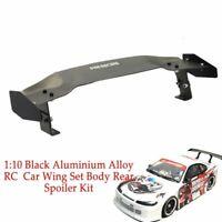 Aluminium Alloy RC Drift On-road Car Wing Set Body Rear Spoiler Parts 1:10 Black