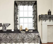 3 PC LACE TABLECLOTH-MANTEL SCARF-WINDOW SWAG SET