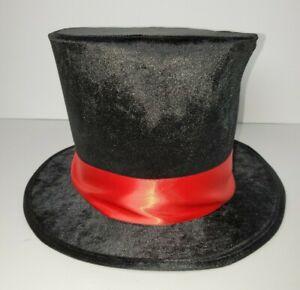 ADULT BLACK VELVET MAD HATTER VAMPIRE RINGMASTER COSTUME TOP HAT W/ RED RIBBON