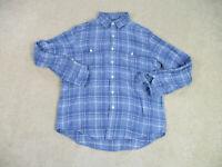 Ralph Lauren Polo Button Up Shirt Adult Large Blue White Plaid Pony Mens A51 *