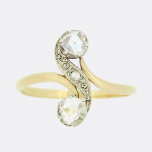 Belle Époque Rose Cut Diamond Crossover Ring 18ct Yellow Gold