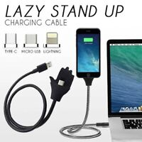 Lazy Stand Up Charging Cable Flexible Phone Holder Bracket USB Charger