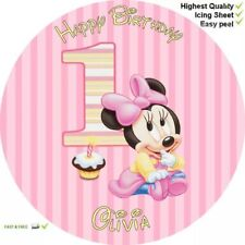 """1ST BIRTHDAY MINNIE MOUSE 8"""" Round Premium IcingSheet Customised Cake topper"""