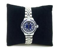 Rolex SS Oyster Perpetual Date Just  Watch w/ Diamonds & Blue Sapphires