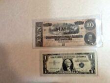 1864 Confederate 10 F & 1957A $1 Silver Star Certificate
