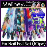 Fur Nail Art Foils Rainbow Transfer Foil sticker Decoration Decal wrap Marble
