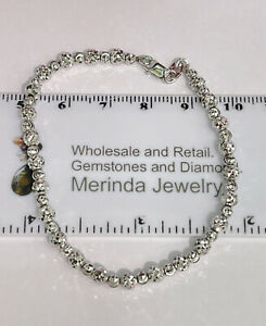 Solid 0.925 Silver Shiny Italy Beaded Bracelet 7 Inches. 6 Grams
