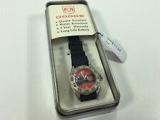 Dodge Silver Red Black Women's Wrist Watch NOS Quartz Water Resistant 31109