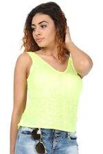 Magliette da donna verde con scollo a v taglia L