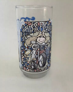 "Vintage, Miss Piggy Mc Donald's 1981 Collectible Drinking Glass 6"" Tall"