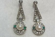 Rhodium Plated over 18K White Gold, Pearl, Diamond &Emerald Articulated Earrings