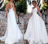 Lace Beach Spaghetti Strap Wedding Dress Bridal Gowns Bohemian Custom Size
