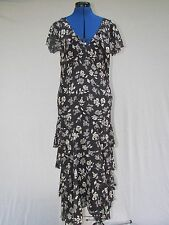 NEW NWT POLO RALPH LAUREN BLACK & IVORY FLORAL SILK MIDI DRESS SZ 8 MSRP $598