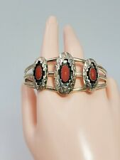 Vintage Native American 925 Sterling Silver Red Coral Cuff Bracelet