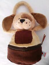 "Ganz Zip & Stows Brown Puppy Dog 9"" Plush Stuffed Corduroy Hand Bag Purse HB302"