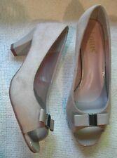 Lotus Ladies Beige Faux Suede High Heels peep toe shoes bow on front UK 4 EU 37