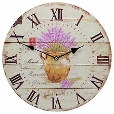 """TKF 13"""" Silent Wall Clock with Lavender Flower Rustic Postal Prints"""