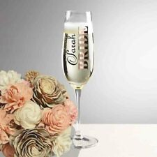 Wedding vinyl champagne flute glass personalised decal stickers