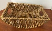 "Metal Frame Sturdy Signed Woven Basket 15"" X 10"" Nice!!"