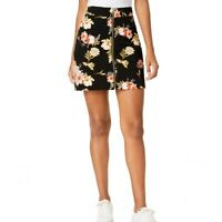 INC NEW Women's Black Floral-Print Zip-Front Mini A-Line Skirt L TEDO