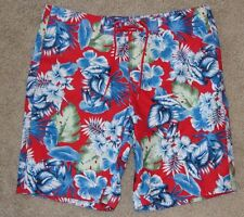 New Men's Hollister Swimwear Sz XL Red Blue Green Floral Swim Trunks