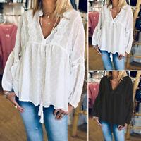 ZANZEA Women Ladies Lace Patchwork Shirt Casual Long Sleeve Loose Tops Blouse