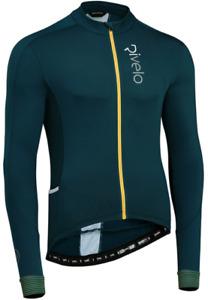 RIVELO Mens Weston Light Long Sleeve Cycling Jersey (Petrol/Yellow) RRP £100