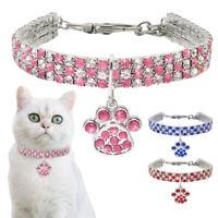 Bling Rhinestone Dog Necklace Collar Diamante&Paw Pendant Pet Puppy Cat Yorkie
