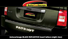 BUMPER LETTER INSERTS FOR JEEP PATRIOT 2007-2016 REFLECTIVE BLACK NIGHT VIEW