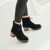 Women's Fashion Round Toe Lace up Solid Ankle Boots Block Mid Heels Shoes Size