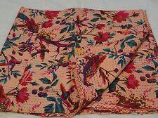kantha Queen Throw cotton Bird design bedding quilt gudari bedspread