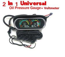 Car TruckOil Pressure Gauge Meter+ Voltmeter Voltage Gauge 2 Funtions Sunshield