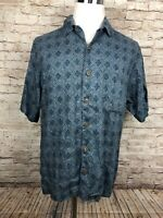 Tommy Bahama Blue Floral Mens Short Sleeve Linen Hawaiian / Camp Shirt Small