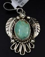 Native American Sterling Silver and Kingman Turquoise Pendant