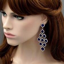 Drop Dangle Earrings 8547 Prom Rhodium Plated Blue Crystal Rhinestone Chandelier