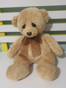 KORIMCO TEDDY BEAR BROWN SAD LOOKING 28CM BEANS IN BUM
