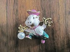 Pig w/ suit & hat Necklace or Brooch Year of the Pig! Retro Betsey Lucky Running