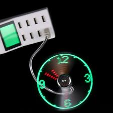 USB Mini Flexible Time Clock Fan with LED Light - Cool Gadget Adjustable
