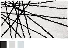 InterDesign Microfiber Abstract Bathroom Shower Accent Rug 34 x 21 Black/White