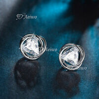 18K WHITE GOLD GF STUD MADE WITH SWAROVSKI CRYSTAL EARRINGS CIRCLE TRIANGLE